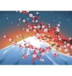 landscape with sakura and Fuji vector image