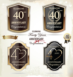 40 years Anniversary labels vector