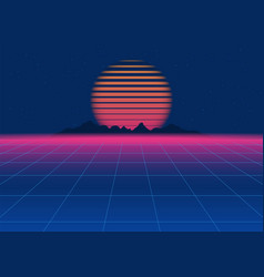 80s retro sci-fi background retro futuristic vector image