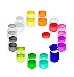 A Set of Colorful Color Paint Jars vector image