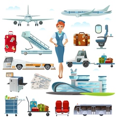 Airport Flight Accessories Flat Icons Set vector image