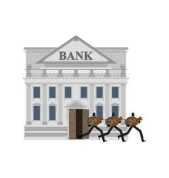 Bank robbery robber and bag money burglar in vector