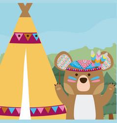 Bear cute hippie cartoon vector