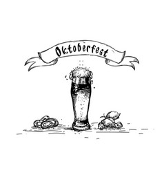 Beer glass mug oktoberfest festival sketch banner vector