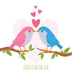 bird love cute birds lovers on branch romance vector image