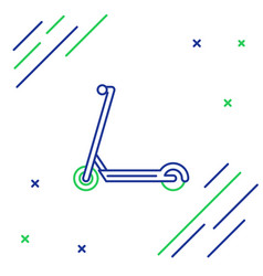 Blue and green line scooter icon isolated on vector