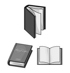 Book bound monochrome icons in set collection for vector