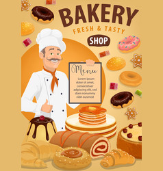 bread pastries croissant with baker bakery shop vector image