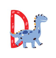 Capital letter d childish english alphabet vector