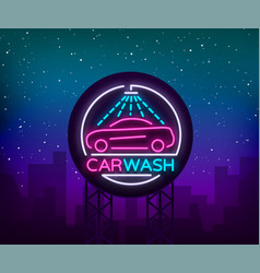car wash logo design emblem in neon style vector image