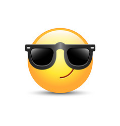 cartoon emoticon wearing black sunglasses happy vector image