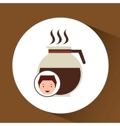 Cartoon guy with maker coffee design icon vector