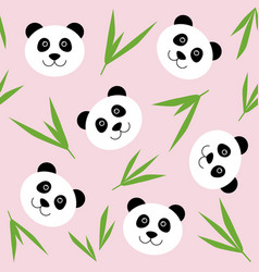 cartoon panda face seamless pattern cute childish vector image