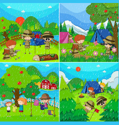 Children in four different scenes with rainy vector