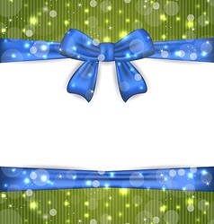 Christmas glowing card with ribbon bows vector