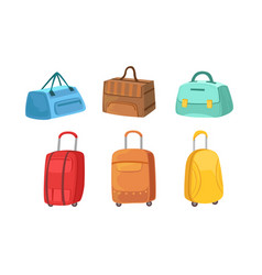 collection suitcases set leather textile and vector image