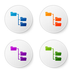 Color folder tree icon isolated on white vector
