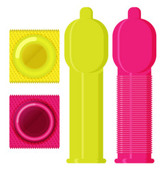 Condom set in flat style vector
