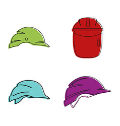 construction helmet icon set color outline style vector image