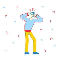 coronavirus symptoms sick man dry have headache vector image