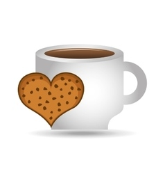 cup coffee heart cookie bakery icon design graphic vector image