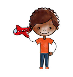 Cute african boy with airplane character icon vector