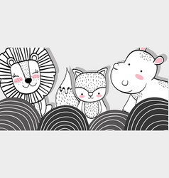 Cute animals friends together with mountains vector