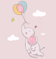 Cute elephant with balloons vector