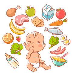 cute little baby and food vector image