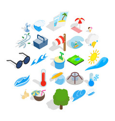 Day of rest icons set isometric style vector