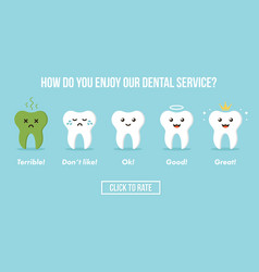 dental care service rating with teeth characters vector image