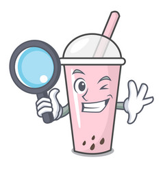 detective raspberry bubble tea character cartoon vector image