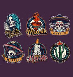 dia de los muertos vintage emblems vector image