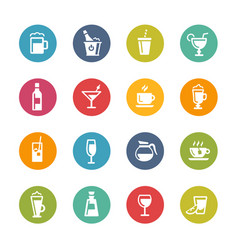 drinks icons - fresh colors series vector image