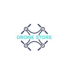 Drone store logo icon with quadrocopter vector