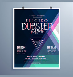 electro music party event flyer template vector image