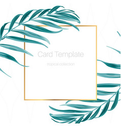 Exotic tropical palm leaves frame card template vector