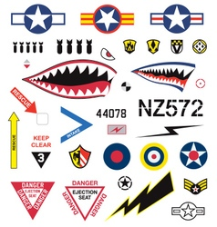 Fighter plane emblems and icons set vector image