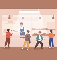 flat cartoon school canteen vector image