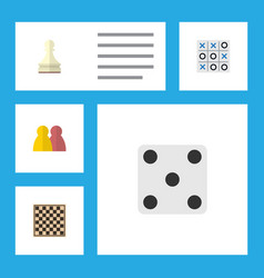 flat icon play set of people xo chess table and vector image