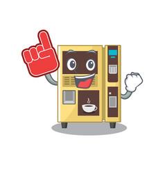 Foam finger coffee vending machine in cartoon vector