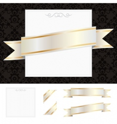 Frame with gold ribbon vector