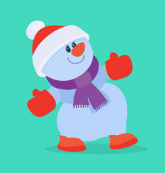 funny cartoon snowman flat icon vector image