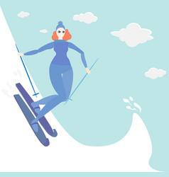ginger young woman do ski vector image