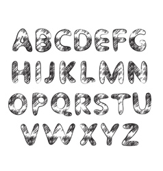 Hand drawn and sketched classic font vector image