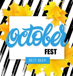 hand drawn oktoberfest lettering label with leaves vector image