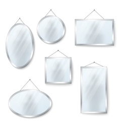 hanging mirrors isolated on white vector image