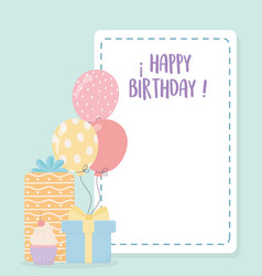 happy birthday sweet cupcake gifts and balloons vector image