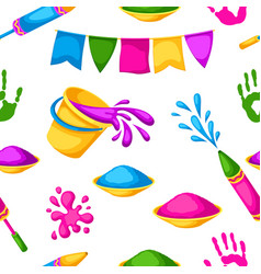 Happy holi colorful seamless pattern vector