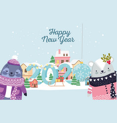 happy new year 2020 celebration seal and bear vector image